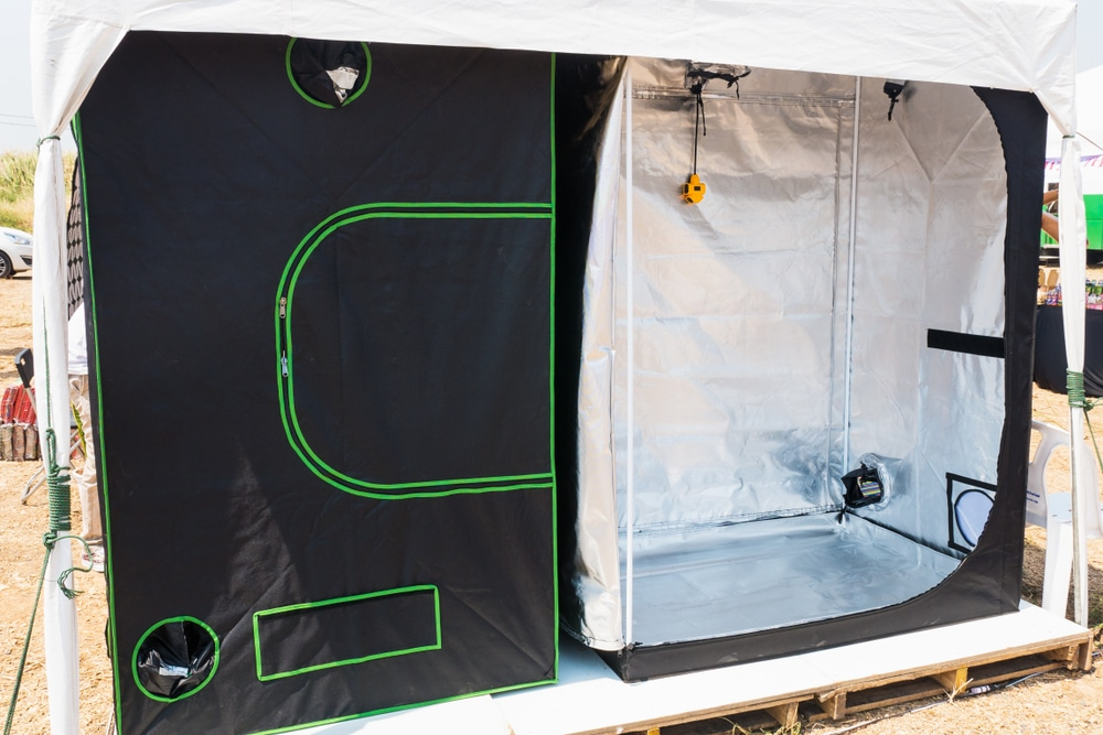 a grow tent open at the front