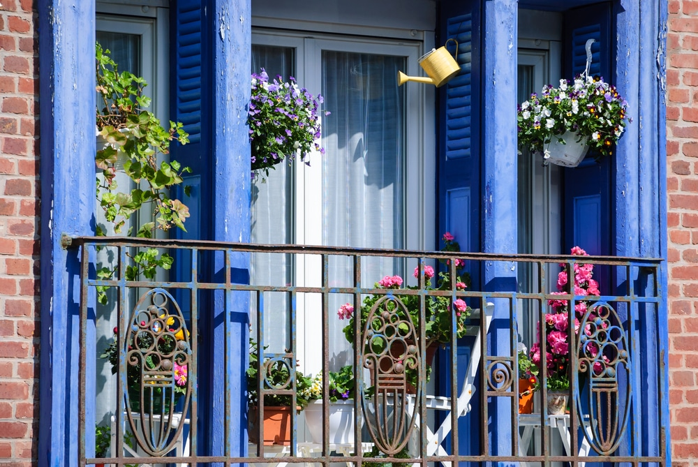 hanging baskets outside of a flat