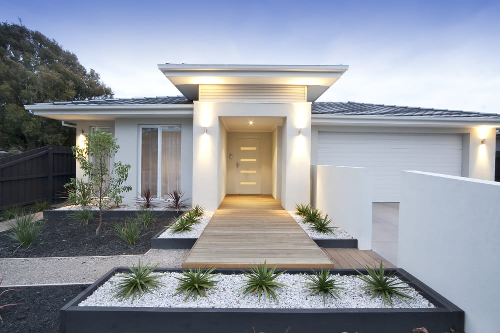 contemporary white rendered entrance to a home in australia