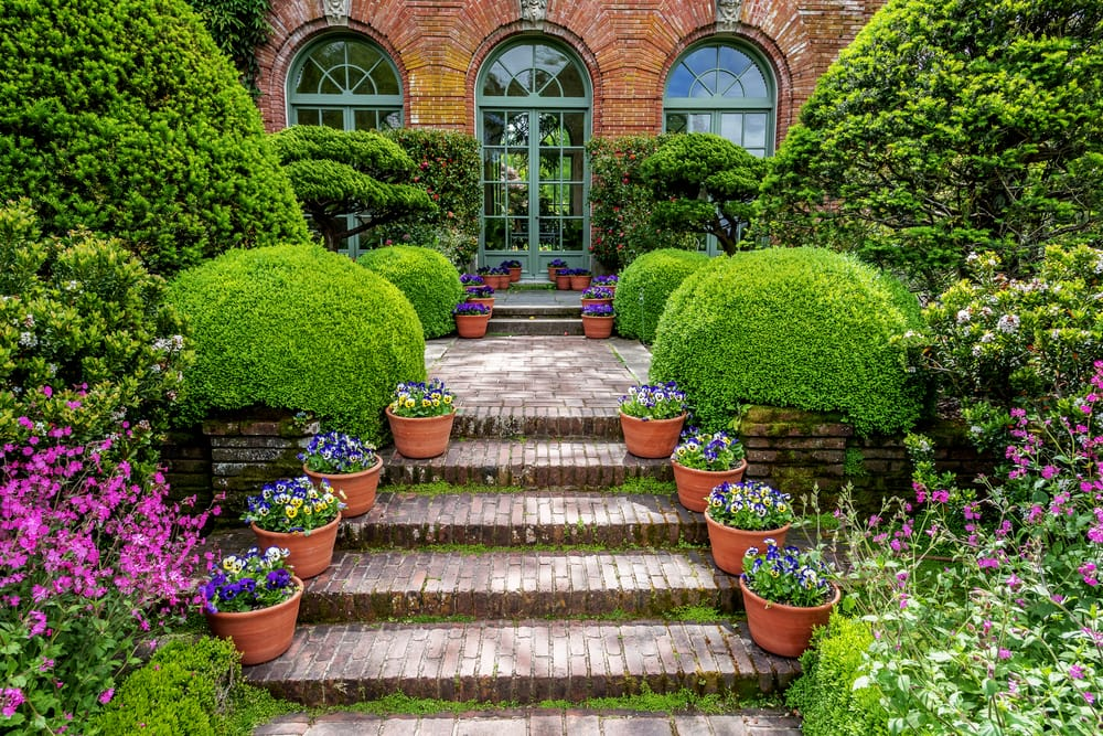 side entrance to a 20th century english mansion